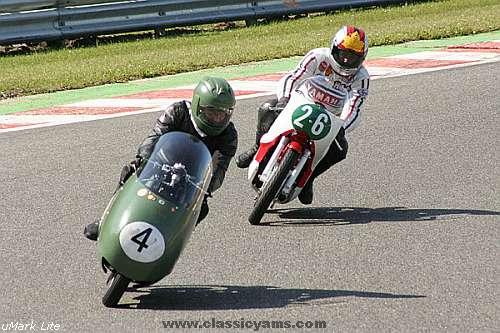Michelle Duff, Yamaha RD56F, follows old Guzzi